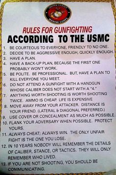 Rules for a gunfight USMC style