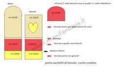 schema portasacchetti stoffa Sewing Box, Chart, Jeans, Kitchen Things, Feltro, Vestidos, Plastic Bags, Projects, Fabrics