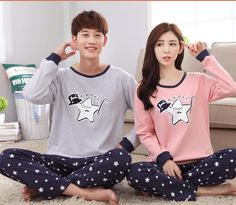 Long Sleeve 100% Cotton Spring Autumn Cartoon Nightshirt with Pants Female Male Couple Home Leisure Wear Lovers Nightclothes Set