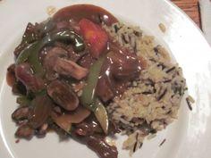 Pepper Steak (Beef Round Steak) Served Wild Rice