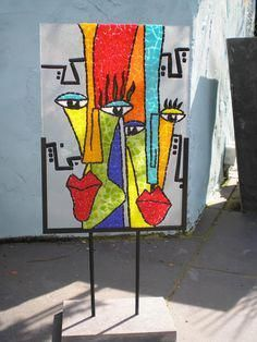 The World's Best Photos by Anja Berkers - mosaics and mixed media art Sea Glass Art, Glass Wall Art, Mosaic Glass, Fused Glass, Stained Glass Designs, Stained Glass Art, Abstract Face Art, Picasso Art, Mosaic Wall Art