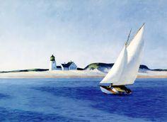 The Long Leg by Edward Hopper Art Print Poster Sailing Seaside Ocean Lighthouse Painting Frames, Painting Prints, Art Prints, Edward Hopper Paintings, Wassily Kandinsky, Long Legs, Abstract Landscape, Abstract Art, American Artists