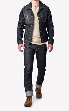CULTIZM - Carefully selected menswear since Shop over 100 brands in our online shop. Cuffed Jeans, Denim Jeans Men, Denim Fashion, Fashion Boots, Fashion Outfits, Brown Boots Outfit, Teenage Boy Fashion, Jaket Jeans, Edwin Jeans