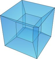 The Tesseract, or a 4-D hypercube.  Enough to keep your mind twisted for hours!