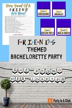 Friends Themed Bachelorette Package, She Found Her Lobster Banner, Bachelorette Drinking Games, Friends Theme Food Label, Photo Booth Props Bachelorette Drinking Games, Printing Services, Online Printing, Bachelorette Decorations, Bridal Shower Party, Friends Tv Show, Get The Party Started, Food Labels, Photo Booth Props