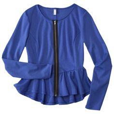 Xhilaration® Juniors Peplum Zip Front Jacket - Assorted Colors