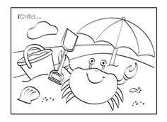 Enjoy colouring in these activities! With this printable activity, you can colour in your very own lovely seaside beach scene! Find lots more on iChild.co.uk