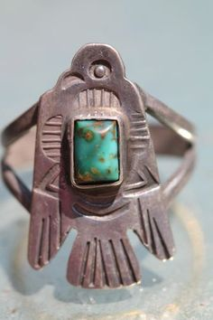 Vintage Navajo Fred Harvey Era Sterling Silver  Turquoise Thunderbird Ring