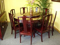 Superior Round Rosewood Dining Set In Ming Style | Oriental Rosewood Round Dining Set  | Asian Rosewood