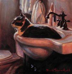 "Daily Paintworks - ""Cat-Shaped Sink"" - Original Fine Art for Sale - © Jonelle Summerfield"