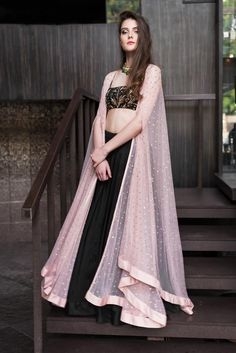 Pink Cape Jacket With Black Top & Skirt Black Lehenga, Pink Lehenga, Lehenga Choli, Cape Lehenga, Jacket Lehenga, Blue Saree, Indian Lehenga, Indian Wedding Outfits, Indian Outfits