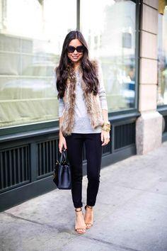 Fur vest + black pants