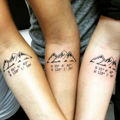 Friendship Small Mountains With Coordinates Tattoo On Forearms