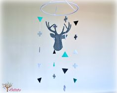 Silhouette Stag deer mobile - geometric mobile - cross and triangle - woodland mobile - baby mobile - nursery decor - MADE TO ORDER by LullabyMobiles on Etsy