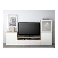 BESTÅ Combinazione TV/ante a vetro - guida cassetto/apertura a pressione, effetto noce mordente grigio/Selsviken lucido/vetro smerigliato bianco - 309 - 240 L x 128 h - IKEA