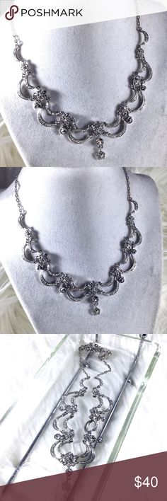 """Vintage Art Nouveau Rhinestone Necklace Elegant double crescent scalloped art nouveau design covered in rhinestones. 1970s/60s revival piece. 18"""" adjustable silver plated. Gorgeous. From large estate collection. Art Deco Edwardian Victorian retro glam. . 🌟 Bundle to Save the most. 25% OFF Bundles of 2 or More items. I accept reasonable offers & bundle offers. No holds, trades, or lowball offers. Boutique Jewelry Necklaces"""