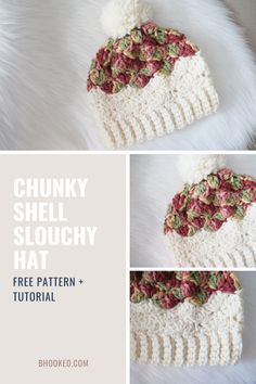 You don't have to sacrifice style for a super quick crochet project. Our Shell Chunky Slouchy Crochet Hat works ups in no time. It's perfect for stocking your fall market or last minute gifts!  #BHooked #Crochet #FreeCrochetPattern