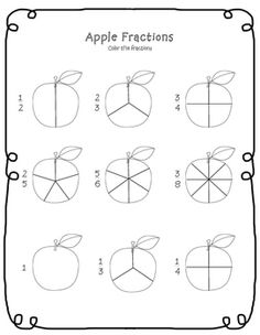 This is a color the apple fraction worksheet perfect for an apple, fall, or back to school theme! 1st Grade Math Worksheets, Fractions Worksheets, Printable Math Worksheets, Free Printables, Teaching Fractions, Math Fractions, Maths, Fourth Grade Math, Free Math