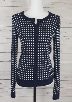 Tommy Hilfiger Womens Sweater Size S P Navy Dolka Dot Button Down Cardigan  Thin   3a68bfc3ef23d