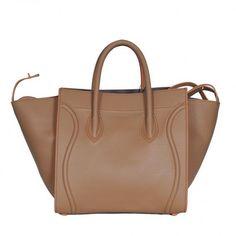 CELINE LUGGAGE PHANTOM APRICOT CALFSKIN W ORANGE PIPING 991011 - CELINE BAGS - HANDBAGS