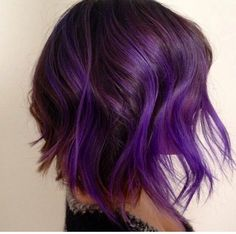 Deep purple with bright purple ombré bob with waves