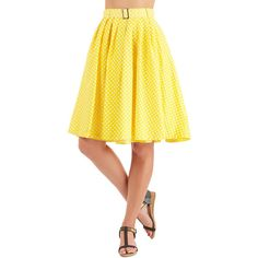 50s Long High Waist Sunny Spot Skirt by Myrtlewood from ModCloth ($35) ❤ liked on Polyvore featuring skirts, bottoms, yellow high waisted skirt, high waisted pleated skirt, pleated skirt, knee length pleated skirt and high waisted long skirt