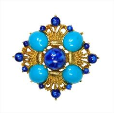Vintage Pin Faux Lapis & Turquoise Cabochons In Goldtone Pin