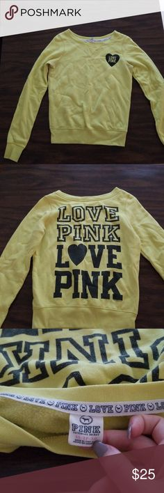 Sweater This sweater is an XS but fits more like a S. It is a vibrant neon yellow. This shirt is in excellent condition because I had barely wore it. 100% real Pink apparel. My favorite thing about this shirt is the awesome color and the back is so cute! If you have any questions ask me! PINK Victoria's Secret Tops Sweatshirts & Hoodies