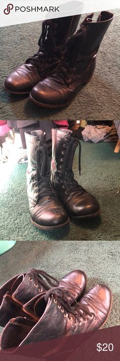black combat boots good condition besides little scuff on front of right boot Shoes Combat & Moto Boots