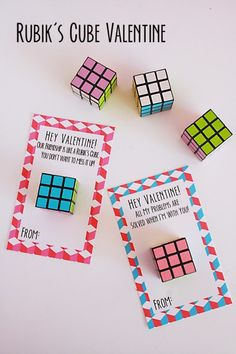 Rubik s Cube Valentines via Darling Darleen Valentines for boys and girls non-. Rubik s Cube Valentines via Darling Darleen Valentines for boys and girls non-…- Kinder Valentines, Valentine Gifts For Kids, Diy Valentines Cards, Homemade Valentines, Valentines Day Party, Valentine Ideas, Valentine Stuff, Valentine Box, Valentinstag Party