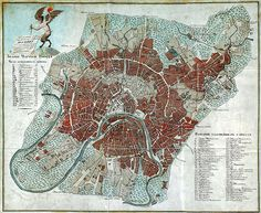 1812 Map of the Great Fire of Moscow by Russian Army Topographers