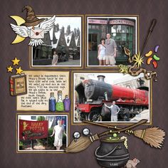 "Wizarding scrapbook pages created with the ""Wizardry"" digital scrapbooking kit from Kate Hadfield Designs – fun ideas for Harry Potter scrapbook pages! Layout created by Creative Team member Nicole"