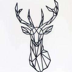 Geometric Deer Head Wall Sticker Geometry Animal Series Decals Vinyl Wall Art Custom Home Decor Size cm (Diy Decorations Office) Wall Stickers Geometric, Diy Wall Stickers, Sticker Vinyl, Window Stickers, Window Decals, Ambiance Sticker, Geometric Deer, Animals Black And White, Animal Drawings
