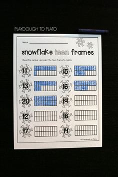 Awesome snowflake teen frames! These are perfect for a preschool or kindergarten winter unit. Great way to help kids understand those tricky teen numbers.