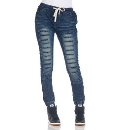 SOHO BABE Denim jogger pants Elastic waistband Adjustable drawstring closure Faux fly 2 side pockets Rips and tears detail on front Lightweight denim