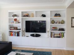Joinery configuration like this to take up tv wall and conceal all cords. This c