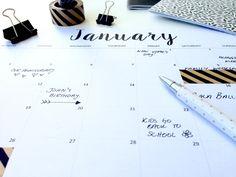 FREE Printable Calendar 2016 Minimalist/Monochrome Style