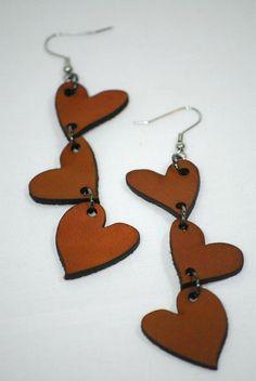 Laser Cut Earrings - Three Hearts
