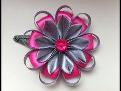 Украшение на заколку Канзаши / Серо-розовый цветок / Цветок из узких лент - YouTube