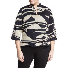 Ming Wang Plus Printed Toggle-Front Jacket (190 CAD) ❤ liked on Polyvore featuring plus size women's fashion, plus size clothing, plus size outerwear, plus size jackets, straight jacket, blue jackets, 3/4 sleeve jacket, toggle jacket and stand collar jacket