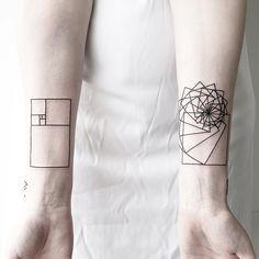 "11.5k Likes, 109 Comments - Architecture & Design (@architectanddesign) on Instagram: ""Minimalist and Geometrical Tattoos by Malvina Maria Wisniewska. (@malwina8) #architectanddesign"""