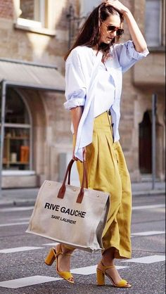 Flared yellow pants and a white blouse. Visit Daily Dress Me at … Cute Casual Outfits, Casual Chic, Summer Outfits, Dress Casual, Comfy Casual, Stylish Outfits, Street Looks, Look Street Style, Street Styles