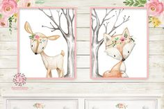 Deer Fox Nursery Woodland Boho Wall Art Prints Bohemian Floral Girls Baby Kids Room Bedroom Decor Print Set Of 2