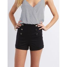 Charlotte Russe High-Rise Sailor Shorts ($18) ❤ liked on Polyvore featuring shorts, black, highwaist shorts, pull on shorts, high waisted metallic shorts, nautical shorts and high-waisted shorts