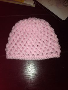 Pink baby girl puff stitch crocheted beanie