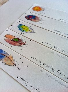 "Bookmarks Set of 5 from Original Illustrations ""Feathers""                                                                                                                                                                                 More"