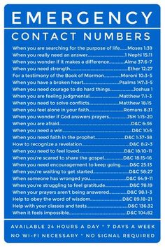 Emergency Contact Numbers: LDS scripture references. Great for Young Women and Young Men, full color, fits standard size scriptures.