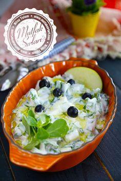 the yesil_elmali_semizotu_salata - Emma Edmiaston Salad Recipes Appetizer Salads, Best Appetizers, Appetizer Recipes, Salad Recipes, Dessert Recipes, Green Apple Recipes, Turkish Salad, Wie Macht Man, Greek Cooking