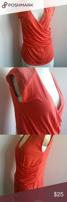 Antonio Melani Top M Orange top, excellent condition, no size tag, silk shoulder detailing, elastic waist, ruched side, stretch. Could fit smaller size with camisole under. ANTONIO MELANI Tops