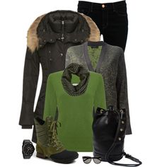 Green & Black, created by kswirsding on Polyvore